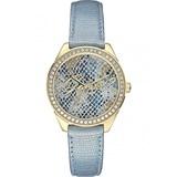 Reloj con correa de piel para mujer, color azul W0612L1 Guess
