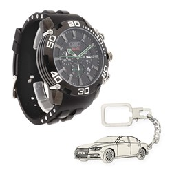 Reloj Conjunto de reloj de caballero S&S para Audi con caja de acero y llavero de plata sterling con reproducción de mod. Audi A4 GUBK1307JS/27 y 1501/LLAV-27