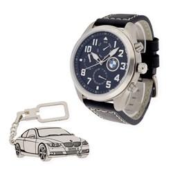 Reloj Conjunto de reloj de caballero S&S para BMW con caja de acero y llavero de plata sterling con motivo de M3 GU1923VX/32 y 1501/LLAV-08