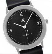 WATCH STRAP BLACK LEATHER CK BLACK DIAL K3211 CALVIN KLEIN