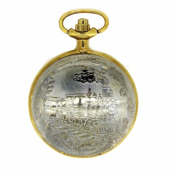 TWO-COLOURED VINTAGE TRAIN B77B POCKET WATCH