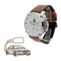 Reloj de caballero S&S para BMW con caja de acero resistente al agua (10 ATM) y correa de piel, llavero de plata sterling con reproducción de mod. BMW M3 SS1916BS/35 y 1501/LLAV-08