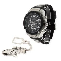 Reloj de caballero S&S para Jaguar con caja de acero resistente al agua (10 ATM) y correa de caucho, llavero de plata sterling con reproducción de mod. Jaguar E-Type SSGU1905OS2A/16 y 1501/LLAV-20