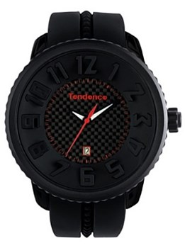 WATCH BOX 50MM OF PLASTIC AND 2302043019 TENDENCE BLACK RUBBER STRAP