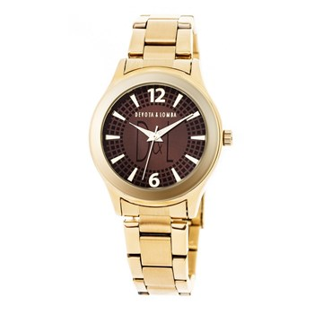WOMAN GOLD WATCH, BROWN DIAL 8435432511503 DEVOTA & LOMBA