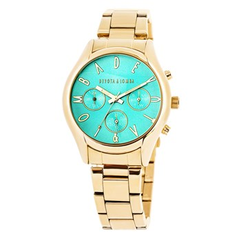 WOMAN GOLD WATCH, TURQUOISE DIAL 8435432511671 DEVOTA & LOMBA