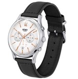 WATCH HENRY LONDON CHRONO STEEL AND BLACK LEATHER HL41-CS-0011