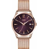 MONTRE HENRY LONDRES EN OR ROSE CADRAN VIOLET HL39-M-0078 Henry London