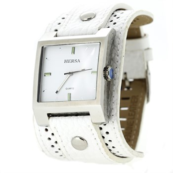 WATCH HERSA WIDE WHITE BELT  HSC1004B