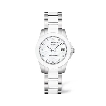 LONGINES CONQUEST L32574877 WHITE CERAMIC WATCH