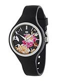 WATCH TIDE LADY BLACK SILICONE SPHERE FLOWERS B35275/1 Marea