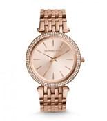 Reloj Michael Kors de señora en acero con baño en oro rosa y circonitas MK3192