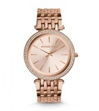 MICHAEL KORS LADY'S IN STEEL WITH BATH IN ROSE GOLD AND ZIRCONS MK3192