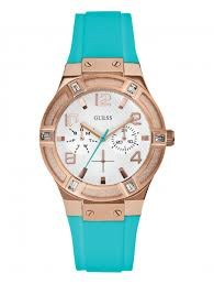 WATCH WOMAN RUBBER TURQUOISE GOLD BOX ROSE W0564L3 GUESS