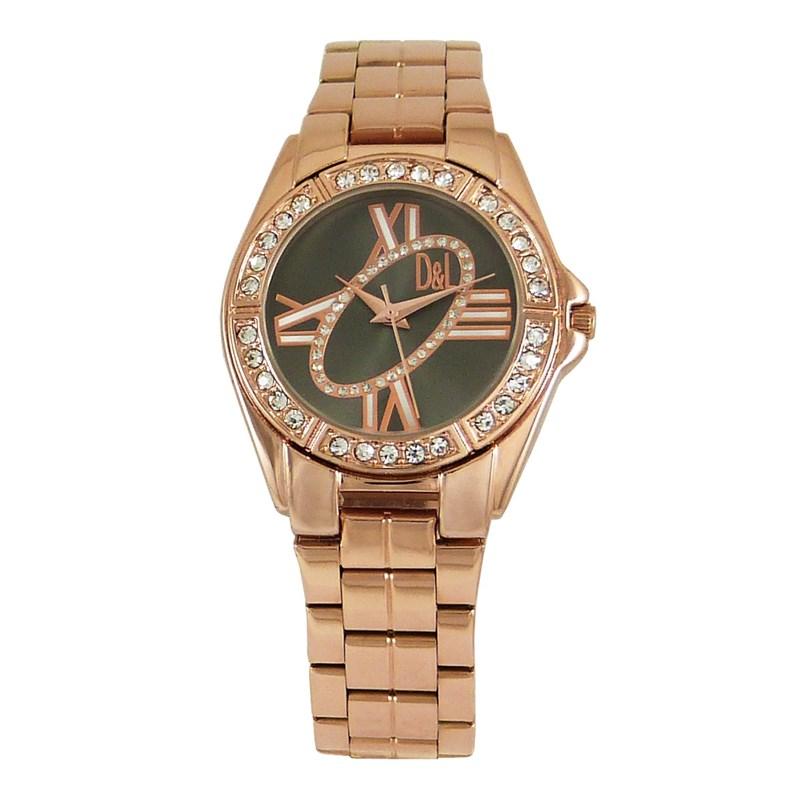 Reloj oro rosa mujer, esfera negra 8435432512944 DEVOTA Y LOMBA Devota & Lomba