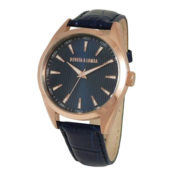 LEATHER MEN WATCH, BLUE DIAL 8435334800217 DEVOTA & LOMBA