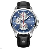MAURICE LACROIX WATCH PT6388-SS001-430-1 AUTOMATIC WITH BLACK LEATHER STRAP.