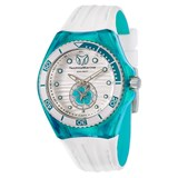 WATCH TECNOMARINE WHITE RUBBER CASE TURQUOISE BLUE 113021 TECHNOMARINE