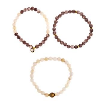Pulsera Set 3 pulseras cuarzo y perla cultivada 18-132762