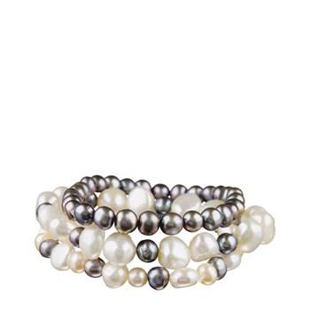 Pulsera Set 3 pulseras perlas cultivadas blanco y gris