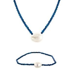 Collar Set collar y pulsera de hematites azul con perla cultivada