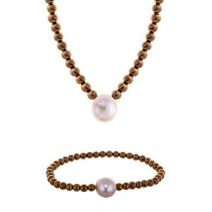 Collar Set collar y pulsera hematites brown perla rosa