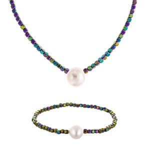NECKLACE SET NECKLACE AND BRACELET MULTI-COLOURED HEMATITE