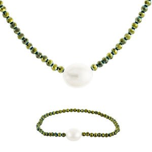 NECKLACE SET NECKLACE AND BRACELET CULTIVATED GREEN AND PEARL HEMATITE