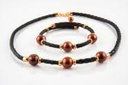 Combinado Set collar y pulsera perlas brown y plata de ley