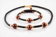 Combiné Pearl Set brun et argent sterling collier et bracelet