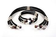 Combinado set collar y pulsera perlas multicolor y plata ley