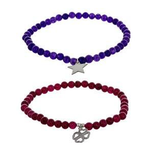 Deux bracelets Bracelet sertie d\'argent rouge quartz et améthyste