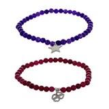 Pulsera Set de dos pulseras amatista y cuarzo rojo plata