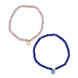 BRACELET SET OF TWO BRACELETS MAUVE AND BLUE WITH SILVER CHARM