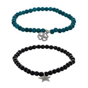Bracelet sertie de deux bracelets Onyx et argent quartz vert