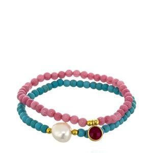 Définissez deux bracelets de poignet charmes agate et turquoise