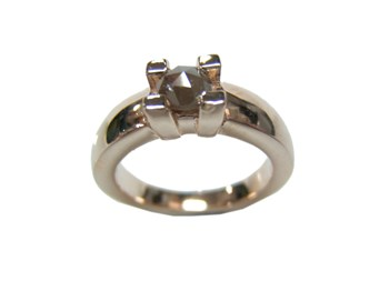 RING SOLITAIRE WITH DIAMOND ROSECUT TONE BROWN