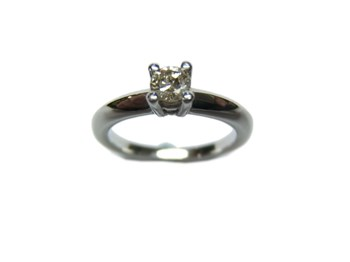 ANILLO Solitario plata y brillante Light Brown