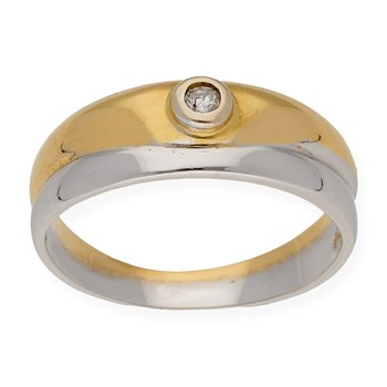 RING TWO-TONE MADE IN WHITE GOLD AND YELLOW GOLD 18K WITH A DIAMOND BRILLIANT CUT BEZEL SET 0.08 CT DSC70060