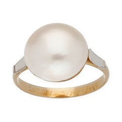 RING TWO-TONE MADE IN GOLD 750 THOUSANDTHS (18KT) WITH A MABE PEARL OF 12,05 MM, SIZE OF THE RING, 13.5 IN (SIZE ENGLISH