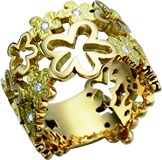 BRILLIANT-CUT YELLOW GOLD 18 K GOLD 5-DIAMOND RING