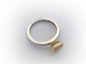 GOLD RING 18 K GOLD WITH CITRINE YELLOW