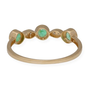 RING YELLOW GOLD 750 THOUSANDTHS (18KT) WITH FRONT OF 2 DIAMONDS, BRILLIANT, AND 3 EMERALDS