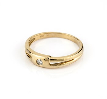 RING YELLOW GOLD 750 THOUSANDTHS 18 KT, WITH CENTRAL DIAMOND BRILLIANT CUT