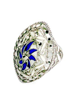 STERLING SILVER AND ENAMEL RING