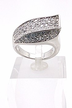 Rhodium with stones sterling silver ring
