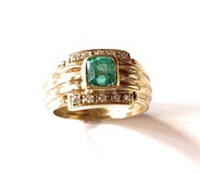 RING, EMERALD AND BRIGHT GOLD 18K ZINZI