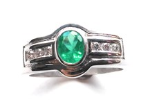 RING EMERALDS AND DIAMONDS IN WHITE GOLD 18 K