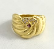 RING GOLD AMETHYST AND ZIRCONS