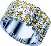 BRILLIANT-CUT RING WHITE GOLD 18 K 59 DIAMONDS AND 36 YELLOW SAPPHIRES